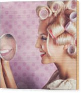 Beautiful Model With Fresh Makeup And Hairstyle Wood Print by Jorgo Photography - Wall Art Gallery