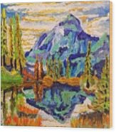 Beautiful Mountainous Reflection  Wood Print