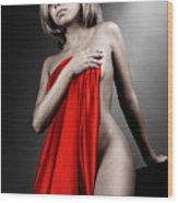 Beautiful Naked Woman Covering Herself With Red Drape Wood Print
