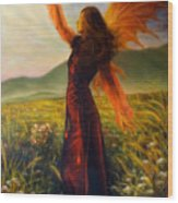Beautiful Painting Oil On Canvas Of A Fairy Woman In A Historic Dress Standing In Rays Of Sunlight A Wood Print
