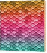 Beautiful Pastel Diagonal Rainbow Spectrum II Mermaid Fish Scales Wood Print