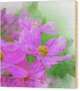 Beautiful Pink Flower Blooming For Background. Wood Print
