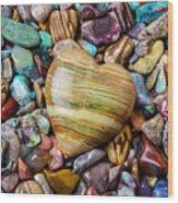 Beautiful Polished Colorful Stones Wood Print