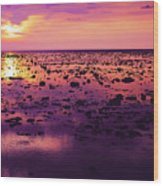 Beautiful Purple Sunset During Tide Shows Up Rocky Beach Wood Print