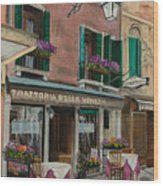 Beautiful Restaurant In Venice Wood Print by Charlotte Blanchard