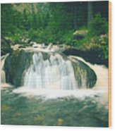 Beautiful River Flowing In Mountain Forest Wood Print