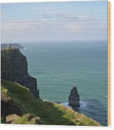 Beautiful Rocky Towering Sea Cliffs Along The Cliff's Of Moher Wood Print