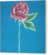 Beautiful Rose On  Blue Background Wood Print