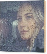 Beautiful Sad Woman In The Car Wood Print