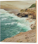 Beautiful Shore Of Nazare, Portugal Wood Print