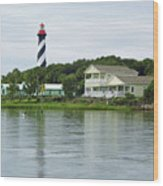 Beautiful St Augustine Lighthouse Waterfront Wood Print