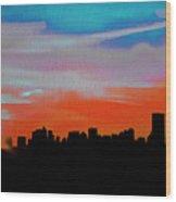 Beautiful Sunset Oil Paint Wood Print