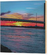 Beautiful Sunset Under The Bridge Wood Print