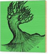 Beautiful Tree In Color Nature Original Black And White Pen Art By Rune Larsen Wood Print