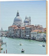 Beautiful View Of Water Street And Old Buildings In Venice, Ital Wood Print