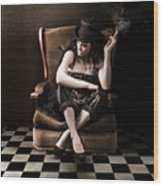Beautiful Vintage Fashion Girl In Grunge Interior Wood Print by Jorgo Photography - Wall Art Gallery