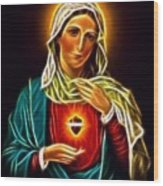 Beautiful Virgin Mary Sacred Heart Wood Print
