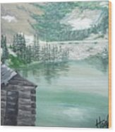 Beautiful Water Cabin Wood Print