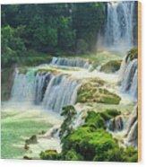 Beautiful Waterfall Crystal Waters Wood Print
