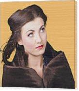 Beautiful Winter Woman Isolated On Orange Wood Print