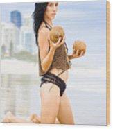 Beautiful Woman In Beach Heaven Wood Print