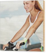 Beautiful Woman On The Bicycle Wood Print