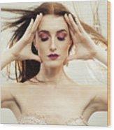 Beautiful Woman With Windswept Hair Wood Print