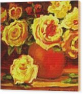 Beautiful Yellow Roses Wood Print