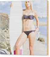 Beautiful Young Blond Surf Woman Wood Print