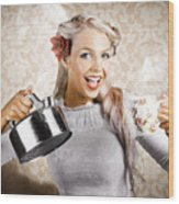 Beautiful Young Retro Woman With Cup Of Coffee Wood Print