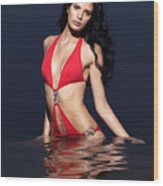 Beautiful Young Woman In Red Swimsuit Standing In Water Wood Print