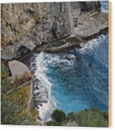 Beautifully Carved Out Swimming Deck On The Edge Of The Sea On The Amalfi Coast In Italy  Wood Print