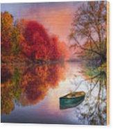 Beauty At The Lake Wood Print by Debra and Dave Vanderlaan