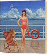 Beauty From The 50s In Bikini  Wood Print