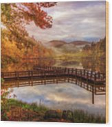 Beauty Of The Lake In Autumn Deep Tones Wood Print