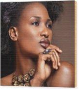 Beauty Portrait Of Black Woman Wearing Jewelry Wood Print