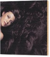 Beauty Portrait Of Woman Surrounded By Long Brown Hair  Wood Print