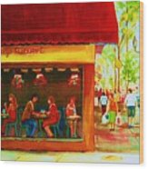 Beautys Cafe With Red Awning Wood Print
