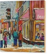 Beautys Luncheonette Montreal Wood Print