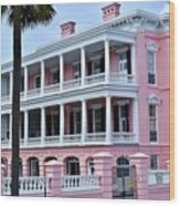 Beauutiful Pink Colonial Style Mansion Wood Print