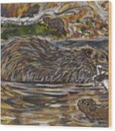 Beaver Family Animal Vignette Wood Print