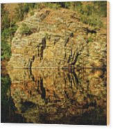 Beaver's Bend Rock Wall Reflection Wood Print