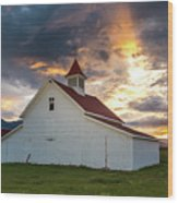 Beckwith Ranch At Sunset With Crepuscular Rays And Virga Wood Print