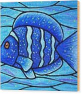 Beckys Blue Tropical Fish Wood Print