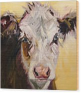 Bed Head Cow Wood Print