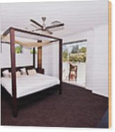 Bed With Canopy Wood Print