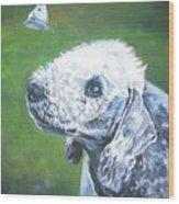 Bedlington Terrier With Butterfly Wood Print
