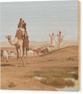 Bedouin In The Desert Wood Print