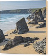 Bedruthan Steps, Cornwall Wood Print