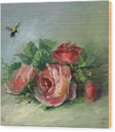 Bee And Roses On A Table Wood Print